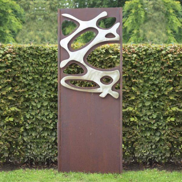 Gartenwand Sichtschutz Wand Klee Stahl rost 75x195 cm